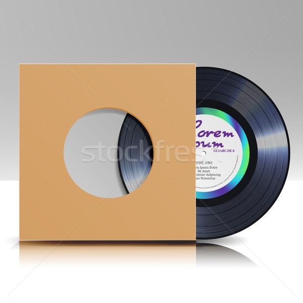 Vinil disco caso isolado branco realista Foto stock © pikepicture