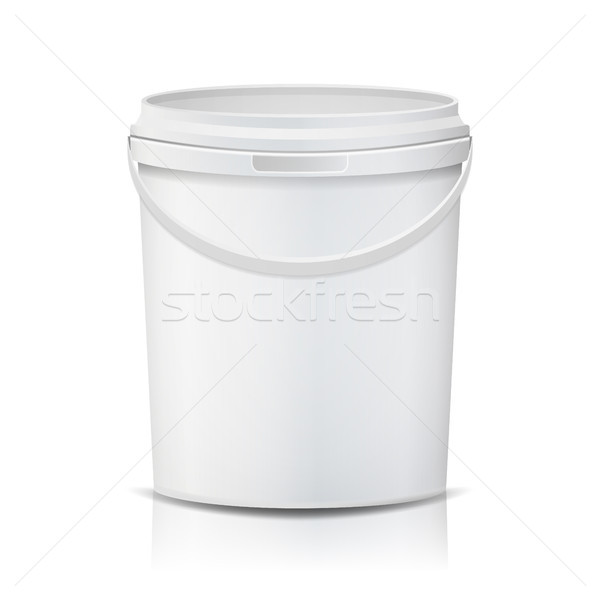 Plastic Bucket Vector. Realistic. White Empty. Container For Paint Or Food. Isolated On White Illust Stock photo © pikepicture