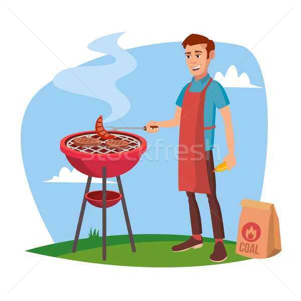 BBQ Cooking Vector. Classic American Smiling Man Barbecuing. Isolated On White Cartoon Character Ill Stock photo © pikepicture