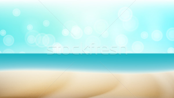 Empty Tropical Beach Background Vector. Seascape Tropical Illustration. Travel Holiday Adventure Con Stock photo © pikepicture