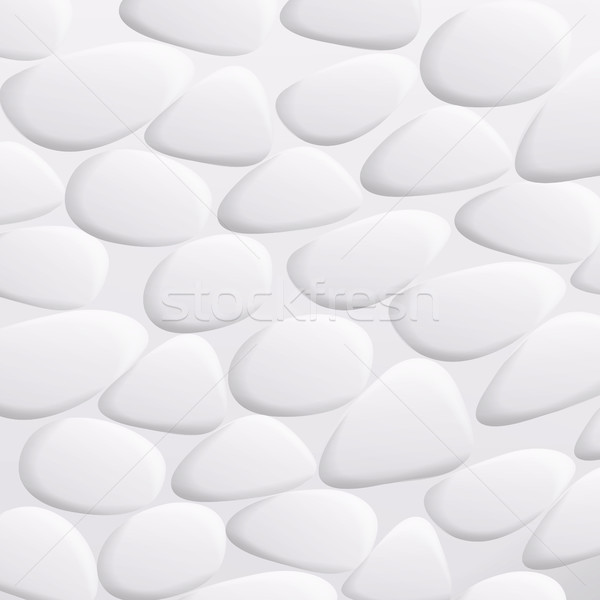White Pebble Vector. Natural Realistic 3d Stones Of Different Shapes. Sea Rock Pebbles Isolated On W Stock photo © pikepicture