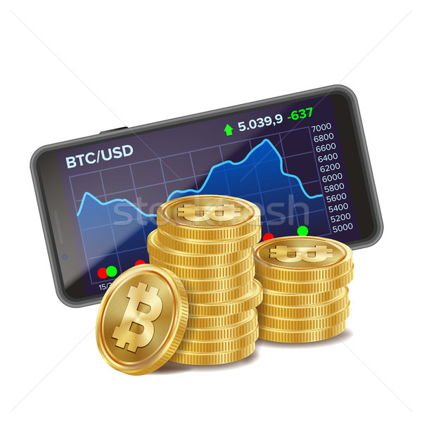 Smartphone And Bitcoin Coins Vector. Digital Money. Cryptocurrency Investment Concept. Realistic 3D  Stock photo © pikepicture