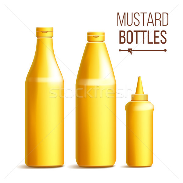 Mustard Bottle Set Vector. 3D Realistic Blank. Plastic Yellow Mustard, Sauce Bottles. Mock Up Good F Stock photo © pikepicture