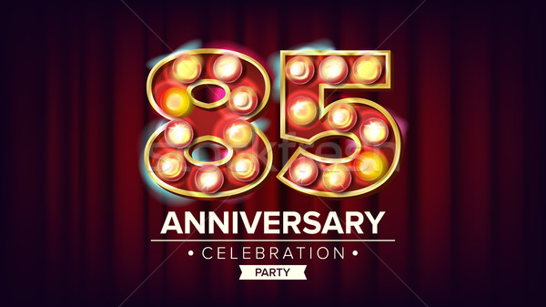 85 Years Anniversary Banner Vector. Eighty-five, Eighty-fifth Celebration. Shining Light Sign Number Stock photo © pikepicture
