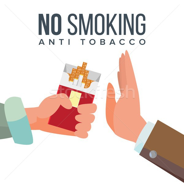 No Smoking Concept Vector. Anti Tobacco. Hand Offers To Smoke Holding A Pack Of Cigarettes. Gesture  Stock photo © pikepicture