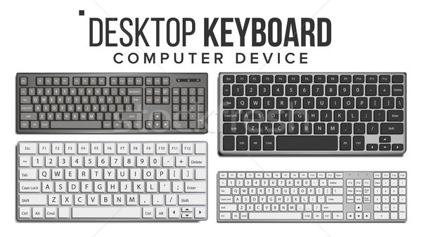 Desktop Keyboard Set Vector. Wireless Modern Plastic Tool. Top View. Isolated On White Illustration Stock photo © pikepicture