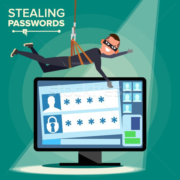 Hacker Stealing Password Vector. Thief Character. Crack Personal Information From Computer. Fishing  Stock photo © pikepicture