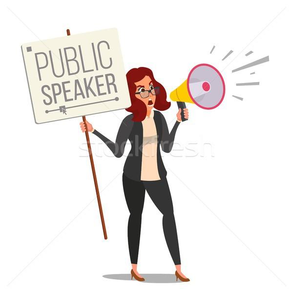 Nő kiált megafon vektor nyilvános női Stock fotó © pikepicture