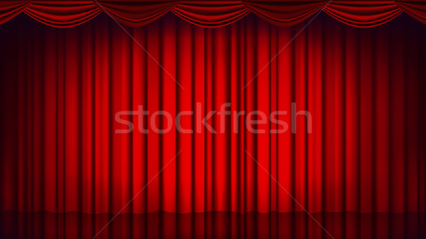 Red Theater Curtain Vector. Theater, Opera Or Cinema Empty Silk Stage, Red Scene. Realistic Illustra Stock photo © pikepicture