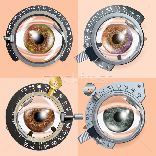 Eye Test concept Vector. Correction Device. Clinic Consultation. Diagnostic Equipment. Optometrist C Stock photo © pikepicture