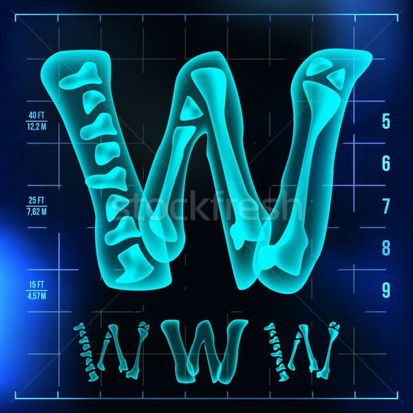 W Letter Vector. Capital Digit. Roentgen X-ray Font Light Sign. Medical Radiology Neon Scan Effect.  Stock photo © pikepicture
