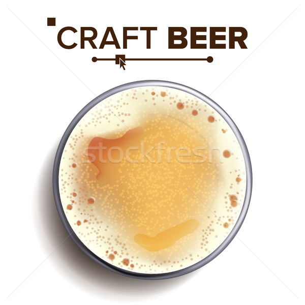 Craft Beer Glass Top View Vector. Glass Cup. Alcohol Drink With Foam Bubbles. For Brewery Banner Des Stock photo © pikepicture