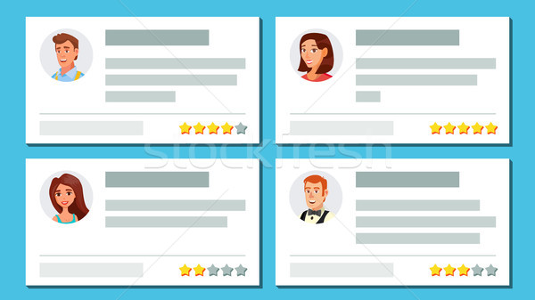 Customer Feedback Vector. Text And Feedback Evaluation. User Avatars. Notification Messages. Rate An Stock photo © pikepicture
