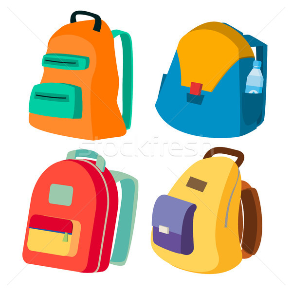 Stock photo: Schoolbag Set Vector. Closed Backpacks Side View. Colored School Modern Backpacks. Isolated Flat Car