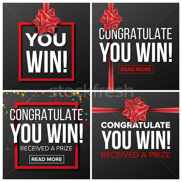 You Win Banner Set Vector. Festive Sign. Realistic Red Satin Bow. Lottery, Surprise, Prize Winner, C Stock photo © pikepicture