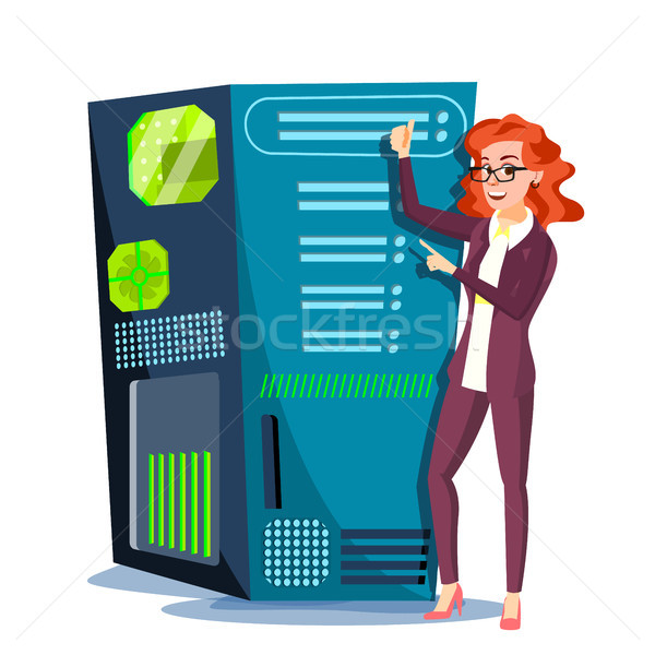 Data Center Vector. Hosting Server And Woman. Storage Cloud. Network And Database Support. Isolated  Stock photo © pikepicture