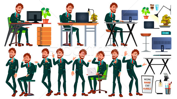 Office European Worker Vector. Face Emotions. Businessman Person. Poses. Front, Side View. Smiling E Stock photo © pikepicture