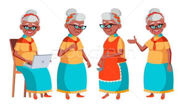 Old Woman Poses Set Vector. Black. Afro American. Elderly People. Senior Person. Aged. Positive Pens Stock photo © pikepicture