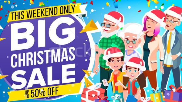 Christmas Sale Banner Vector. Holidays Sale Announcement. Big Christmas Banner. Illustration Stock photo © pikepicture