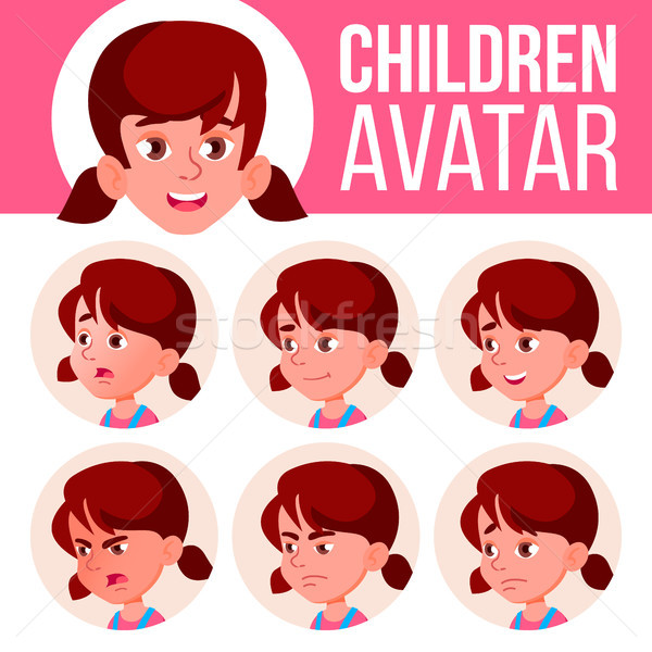 Girl Avatar Set Kid Vector. Kindergarten. Face Emotions. Portrait, User, Child. Junior, Pre-school,  Stock photo © pikepicture