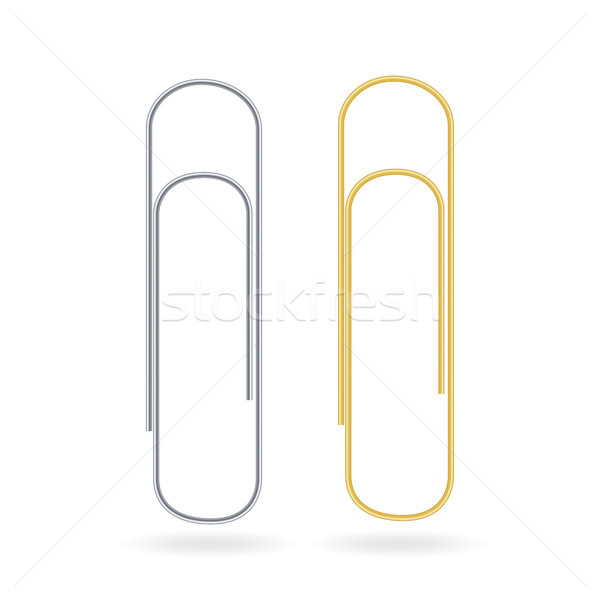 Small Binder Clips Vector Isolated On White. Realistic Paper Clip Set Stock photo © pikepicture