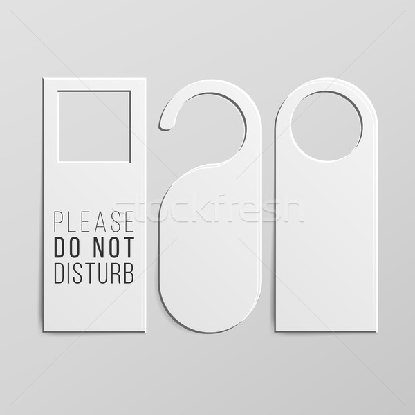 Stock photo: Door Handle Lock Hangers Set. Realistic Mock Up. Do Not Disturb. Vector Illustration