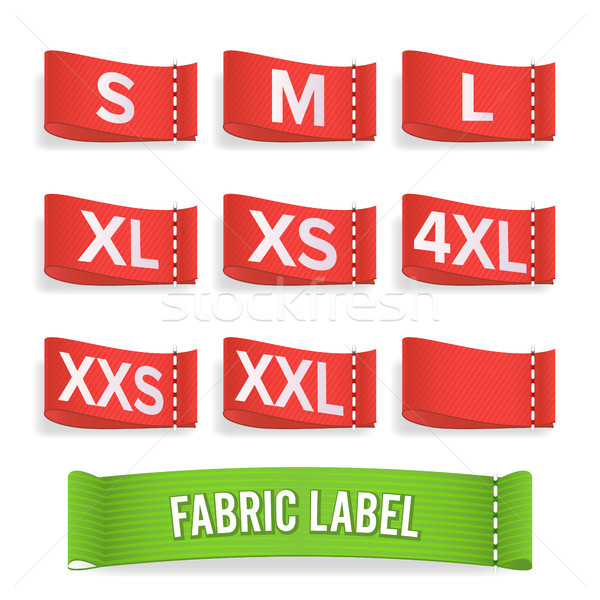 Size Label Fabric Vector. Realistic Set Bright Blank Fabric Labels Or Badges With Stitching. Stock photo © pikepicture