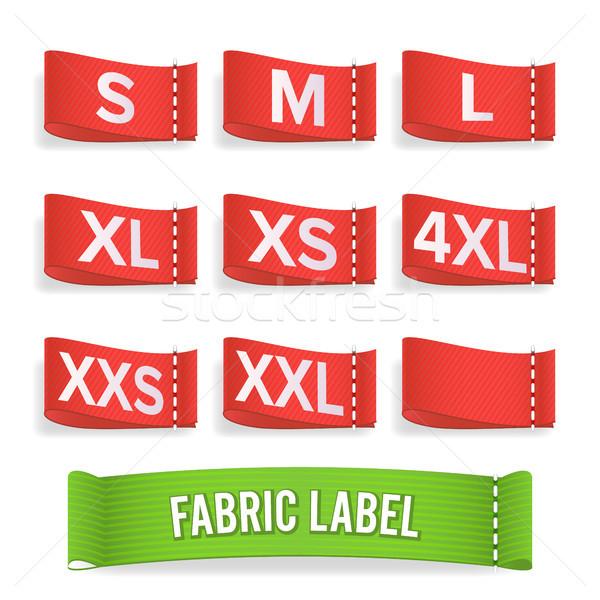 Rozmiar etykiety tkaniny wektora realistyczny zestaw Zdjęcia stock © pikepicture