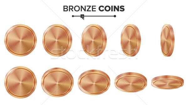 üres 3D bronz réz érmék vektor Stock fotó © pikepicture