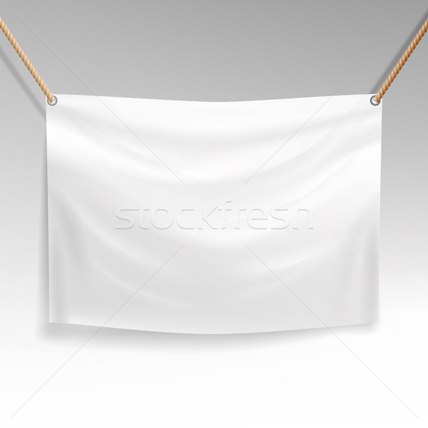 White Banner With Ropes Vector. Realistic Clear Textile Hanging Banner Template. Stock photo © pikepicture