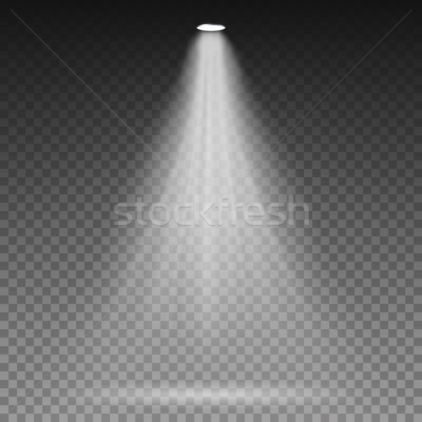 White Beam Lights Spotlights Vector. Transparent Effect. Bright Lighting With Spotlights. Stock photo © pikepicture
