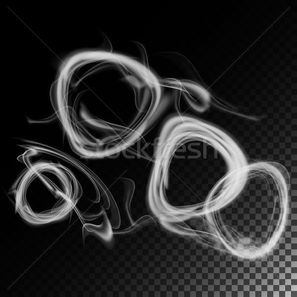 Realistic Cigarette Smoke Waves Vector. Set Of Smoke Abstract, Effect Realistic Smoke. Smoke Rings. Stock photo © pikepicture