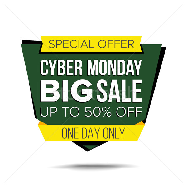 Cyber Monday Sale Banner Vector. Sale background. Half Price Cyber Sticker. Tag And Label Design. Is Stock photo © pikepicture