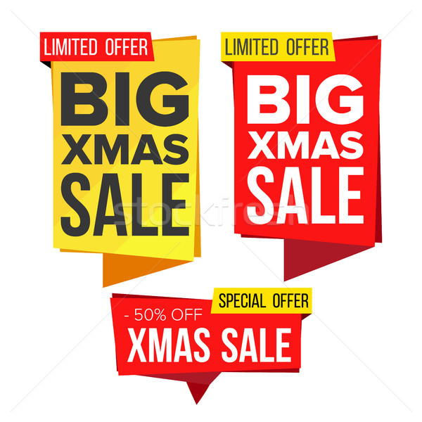 Christmas Sale Banner Set Vector. Winter December Online Shopping. Discount Banners. Xmas Sale Banne Stock photo © pikepicture