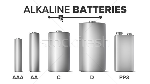 Alkaline Batteries Mock Up Set Vector. Different Types AAA, AA, C, D, PP3, 9 Volt. Standard Modern R Stock photo © pikepicture