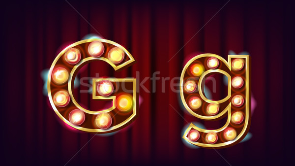 G Letter Vector. Capital, Lowercase. Font Marquee Light Sign. Retro Shine Lamp Bulb Alphabet. 3D Ele Stock photo © pikepicture