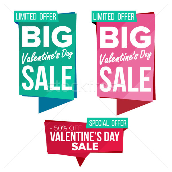 Valentine s Day Sale Banner Set Vector. February 14 Online Shopping. Discount Banners. Valentine Sal Stock photo © pikepicture