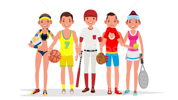 Summer Sports Vector. Set Of Players In Boxing, Basketball, Volleyball, Baseball. Isolated On White  Stock photo © pikepicture