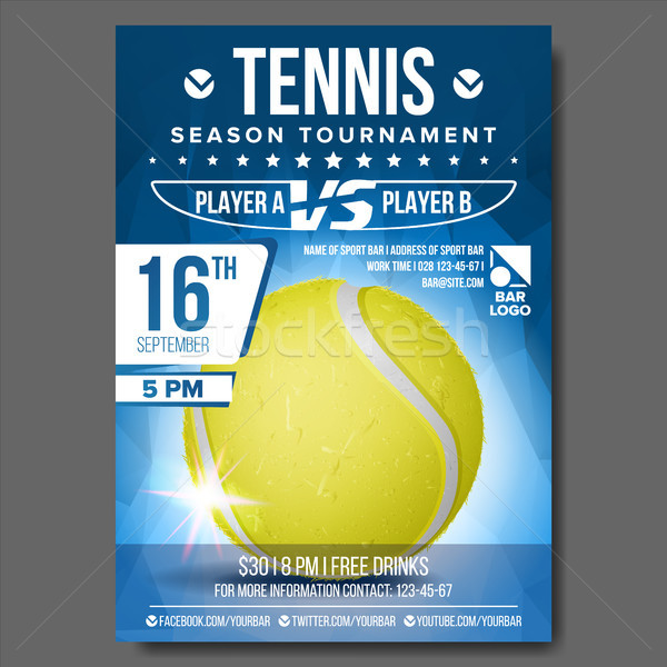 Tennis Poster Vector. Banner Advertising. A4 Size. Sport Event Announcement. Announcement, Game, Lea Stock photo © pikepicture
