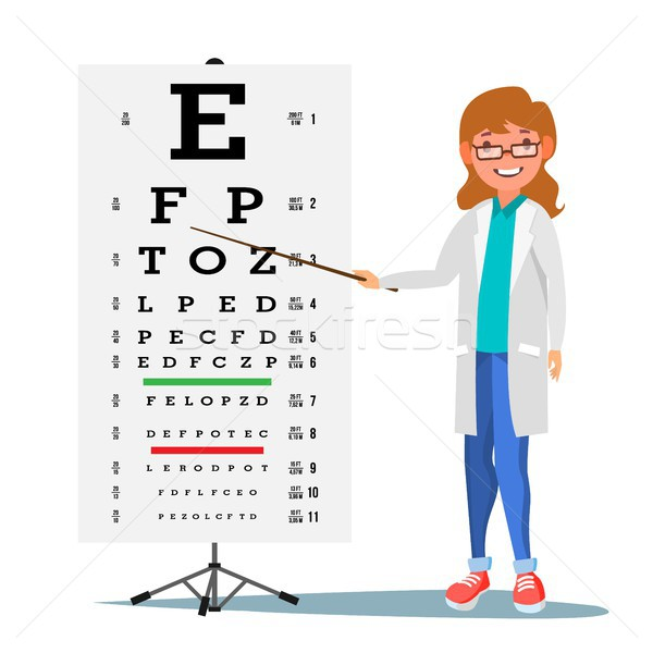Female Ophthalmology Vector. Medical Eye Diagnostic. Doctor And Eye Test Chart In Clinic. Eyesight A Stock photo © pikepicture