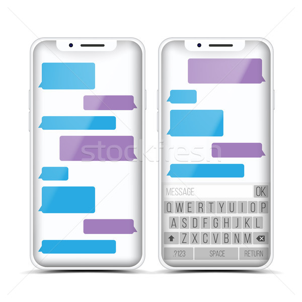 Stock photo: Messenger Vector. Speech Bubbles. Phone Chat Interface. Realistic Smartphone. Communication Concept.