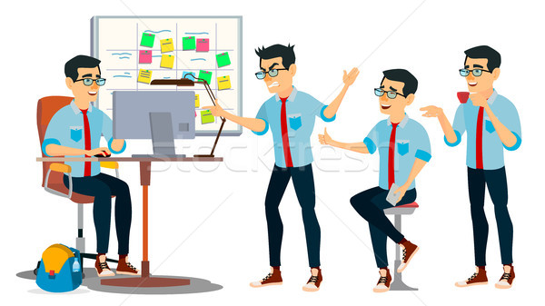 Business Man Character Vector. Working Asian, Man. Team Room. Asiatic. Environment Process In Start  Stock photo © pikepicture