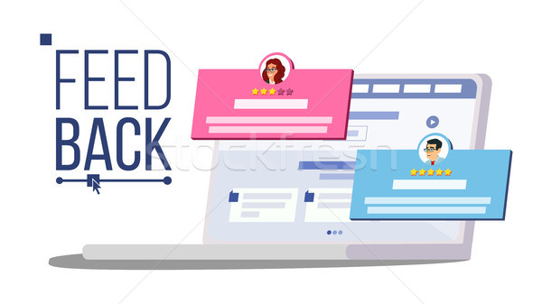 Customer Feedback Rating On Laptop Vector. Speech Bubbles. Client Testimonials Concept. Good, Bad Ra Stock photo © pikepicture