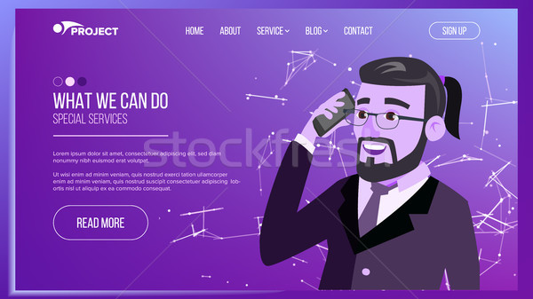 Web Page Vector. Business Interface. Responsive Ux Design. Cartoon Character. Opportunity Form. Illu Stock photo © pikepicture