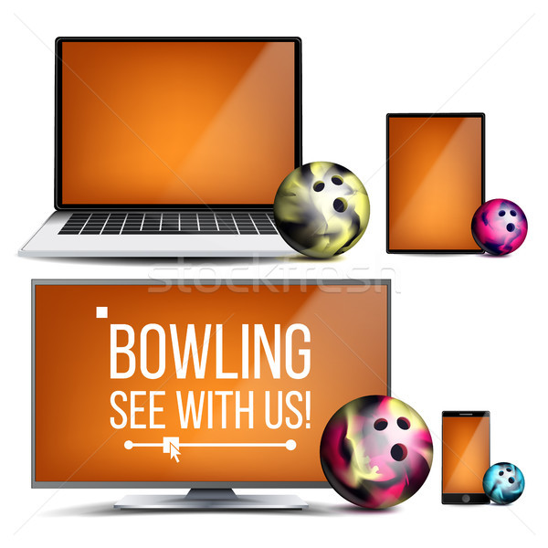 Bowling Application Vector. Bowling Ball. Online Stream, Bookmaker, Sport Game App. Banner Design El Stock photo © pikepicture