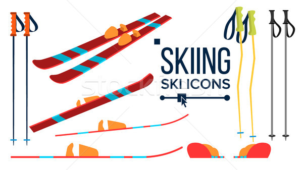 Skiing Icons Vector. Different View. Winter Sport Equipment. Equipment. Mountain Vacation, Activity, Stock photo © pikepicture