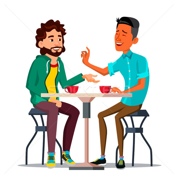 Friends In Cafe Vector. Two Man. Drinking Coffee. Bistro, Cafeteria. Coffee Break Concept. Lifestyle Stock photo © pikepicture