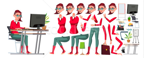 Office Worker Vector. Woman. Animation Creation Set. Lifestyle Generator. Emo, Freak Hairstyle. Prof Stock photo © pikepicture
