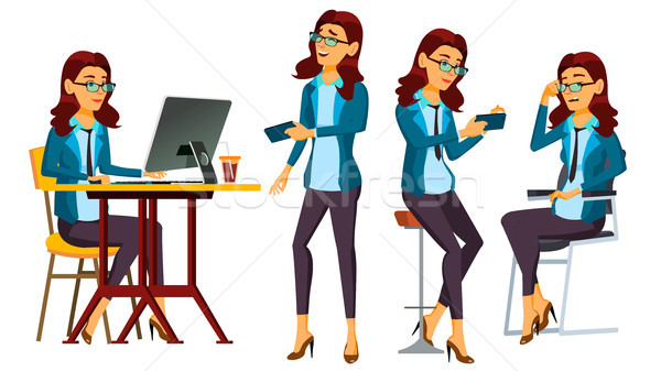 Office Worker Vector. Woman. Successful Officer, Clerk, Servant. In Action. Secretary, Accountant. A Stock photo © pikepicture