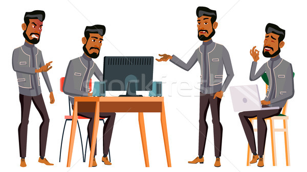 Arab Man Office Worker Vector. Business Set. Islamic. Facial Emotions, Gestures. Animated Elements.  Stock photo © pikepicture